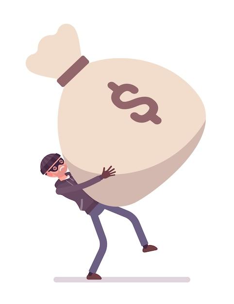 Dieb und ein riesiger geldsack Premium Vektoren