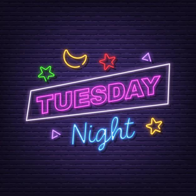 Dienstag nacht leuchtreklame Premium Vektoren