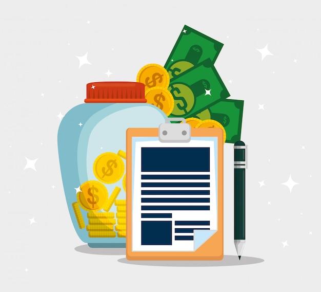 Dienstleistungssteuerdokument mit münzen und rechnungen Kostenlosen Vektoren