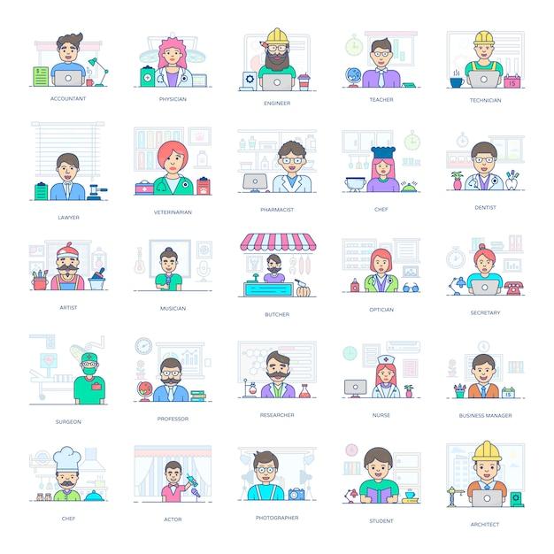 Dieses flache icons-paket ist eine erstaunliche sammlung professioneller leute und erleichtert ihnen den bearbeitbaren stil. Premium Vektoren
