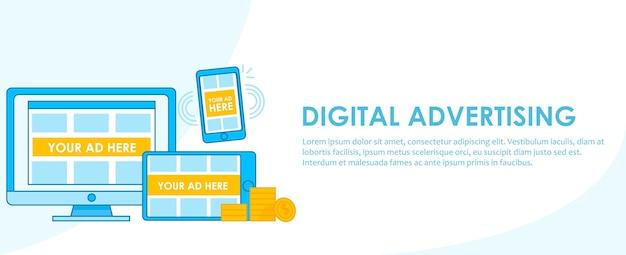 Digital advertising seo banner. computer, telefon und tablet mit anpassungsfähigem design mit werbung Kostenlosen Vektoren