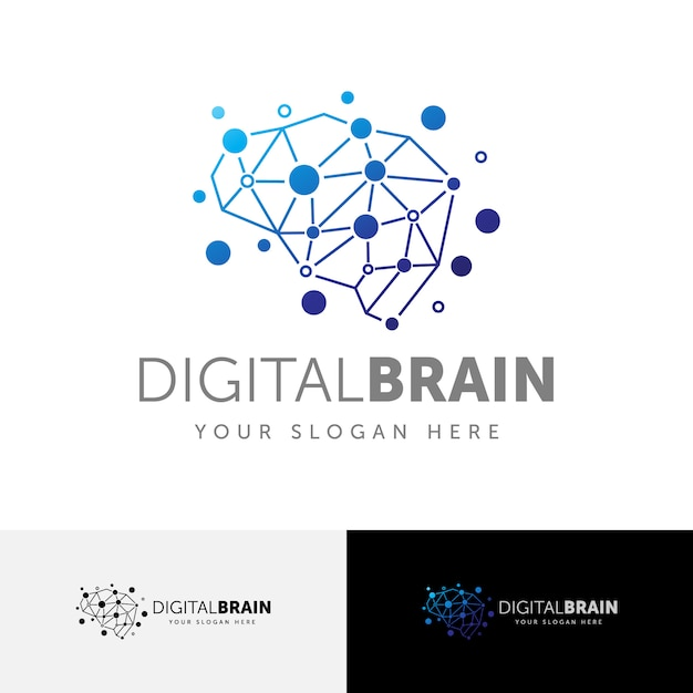Digital brain connection logo template Premium Vektoren