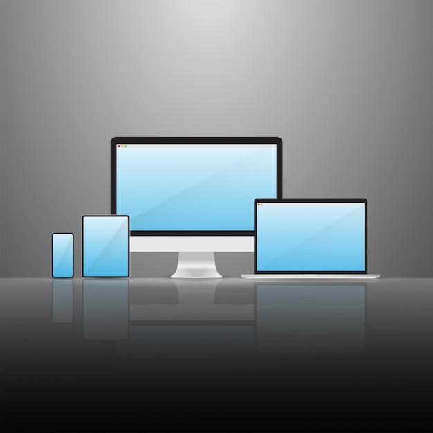 Digital device set Premium Vektoren