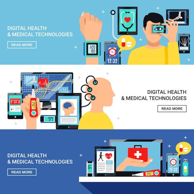 Digital-gesundheits-flache fahnen eingestellt Kostenlosen Vektoren