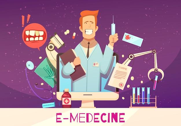 Digital-gesundheitszusammensetzung mit on-line-blutprobe-drogenillustration der medizinischen ausrüstung doktors Kostenlosen Vektoren