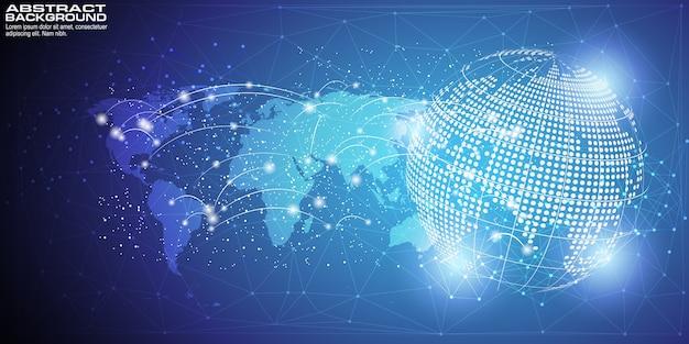 Digital-hintergrund mit globaler netzverbindung des weltkartepunktes Premium Vektoren