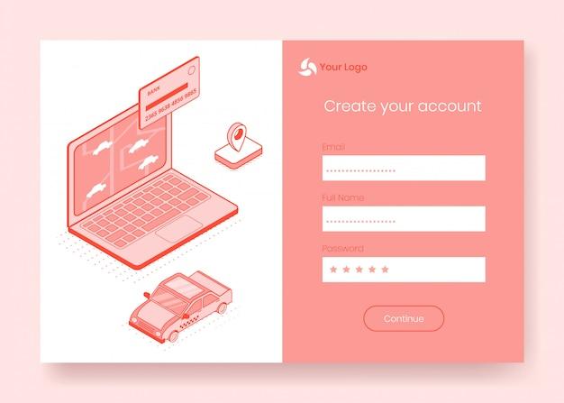 Digital isometrische design-konzept-set von online-taxi-buchung Premium Vektoren