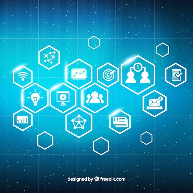 Digital-Marketing-Hintergrund mit glänzenden Symbole Kostenlose Vektoren