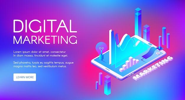 Digital-marketing-illustration der geschäftsmarktforschung und -entwicklung. Kostenlosen Vektoren