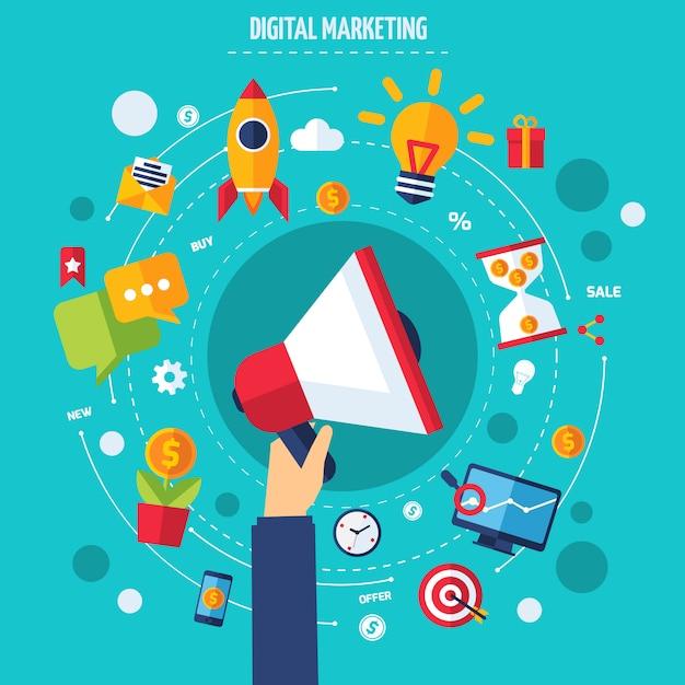 Digital-marketing-konzept Kostenlosen Vektoren