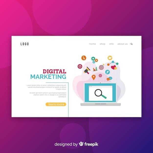 Digital marketing-landing-page-vorlage Kostenlosen Vektoren