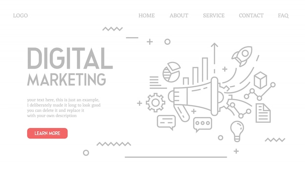 Digital-marketing-landingpage im doodle-stil Premium Vektoren