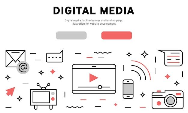 Digital media web infografik Premium Vektoren