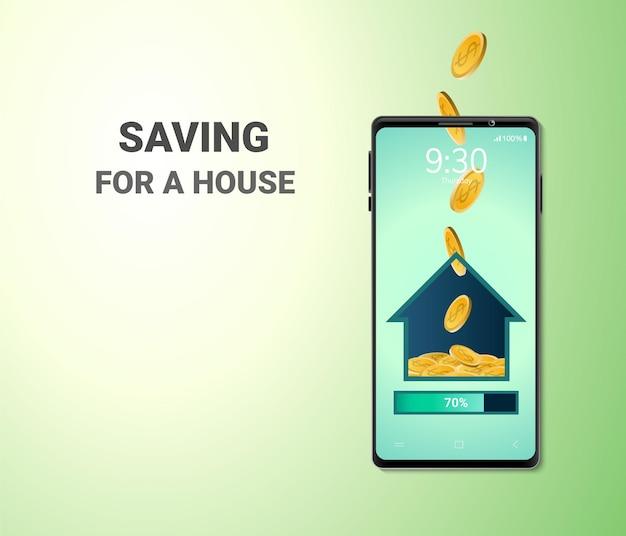 Digital money online-sparen für ein hauskonzept leerzeichen am telefon Kostenlosen Vektoren