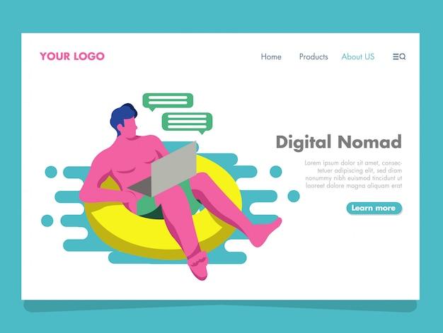 Digital nomad illustration für zielseite Premium Vektoren