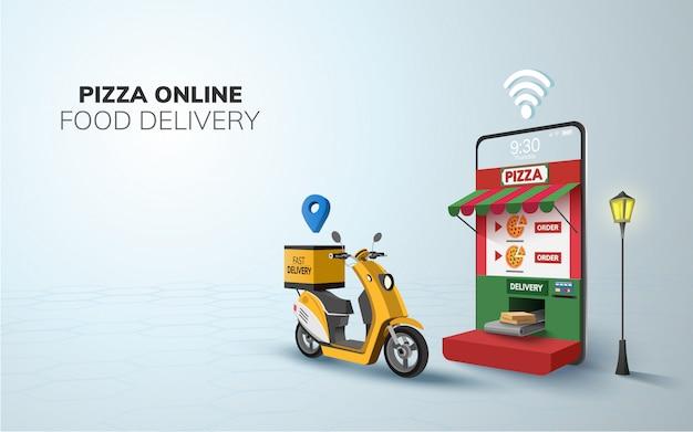 Digital online food pizza lieferung auf roller mit telefon, mobile website hintergrund. illustration. speicherplatz kopieren Premium Vektoren