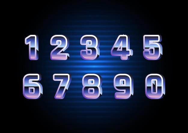Digital retro futuristic number set Premium Vektoren