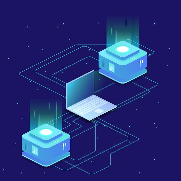 Digital science, serverraum, cloud-speicher, datenaustausch, computerspeicher, abstrakte beleuchtung isometrisch Premium Vektoren