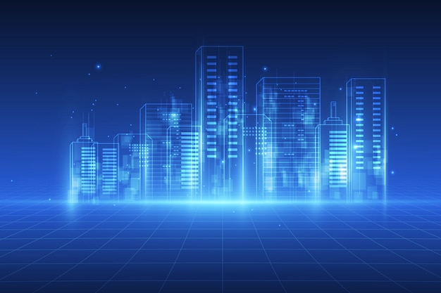 Digital-stadthintergrund Premium Vektoren