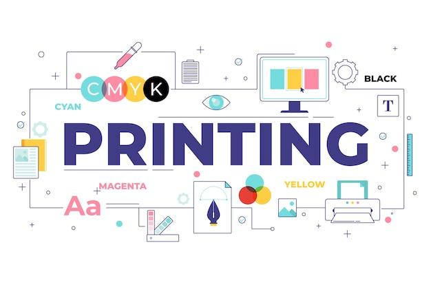 Digitaldruckkonzept Kostenlosen Vektoren