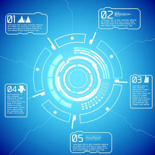 Digitale futuristische interaktive infografiken mit technischem anzeigetext und symbolen auf blauem hintergrund Kostenlosen Vektoren