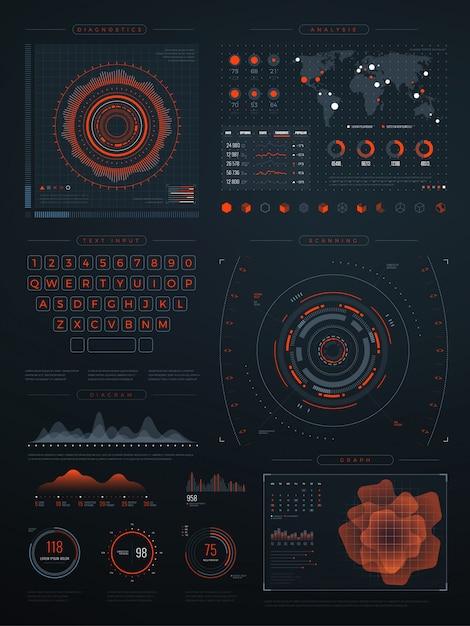 Digitale futuristische virtuelle schnittstelle. vektortechnologiebildschirm mit datendiagrammen. abbildung der schnittstelle mit den daten digital Premium Vektoren