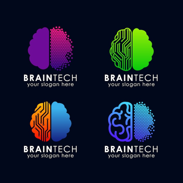 Digitale gehirn logo vorlage Premium Vektoren