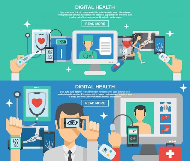 Digitale gesundheit banner set Kostenlosen Vektoren