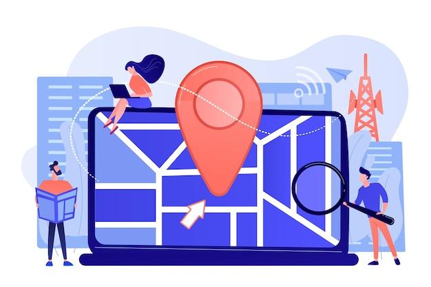 Digitale gps-anwendung für smartphones. geotag-zeichen auf stadtplan Kostenlosen Vektoren