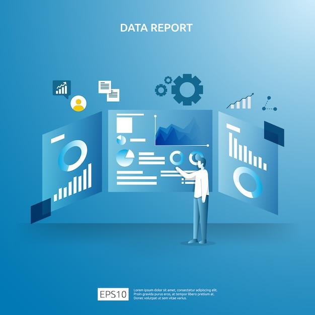 Digitale grafikdaten für seo-analysen und strategisch mit charakter. statistikinformationen, dokument des finanzprüfungsberichts, marktforschung für das betriebswirtschaftliche konzept. Premium Vektoren