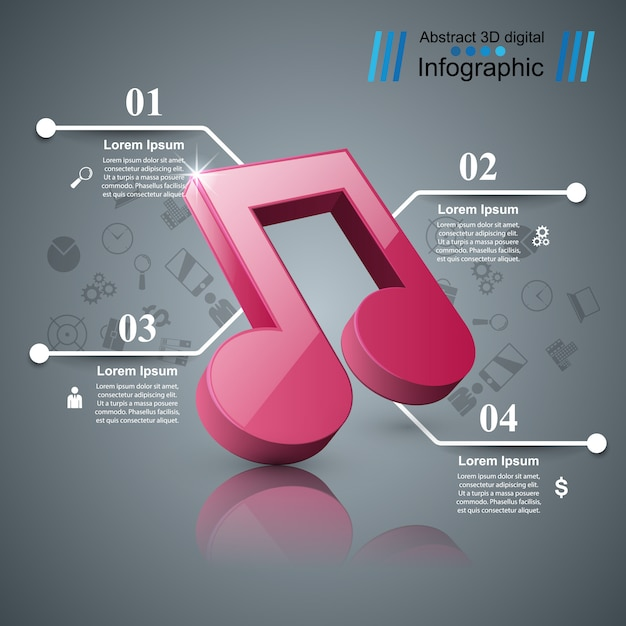 Digitale illustration der musik 3d infographic. Premium Vektoren