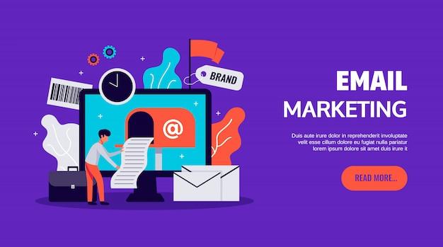 Digitale marketing-ikonen eingestellt mit online-geschäftssymbolen flach isoliert Kostenlosen Vektoren