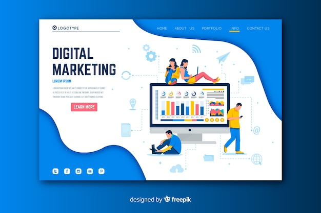 Digitale marketing-landingpage mit monitor Kostenlosen Vektoren
