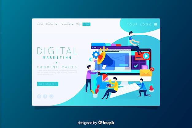 Digitale marketing-landingpage Kostenlosen Vektoren