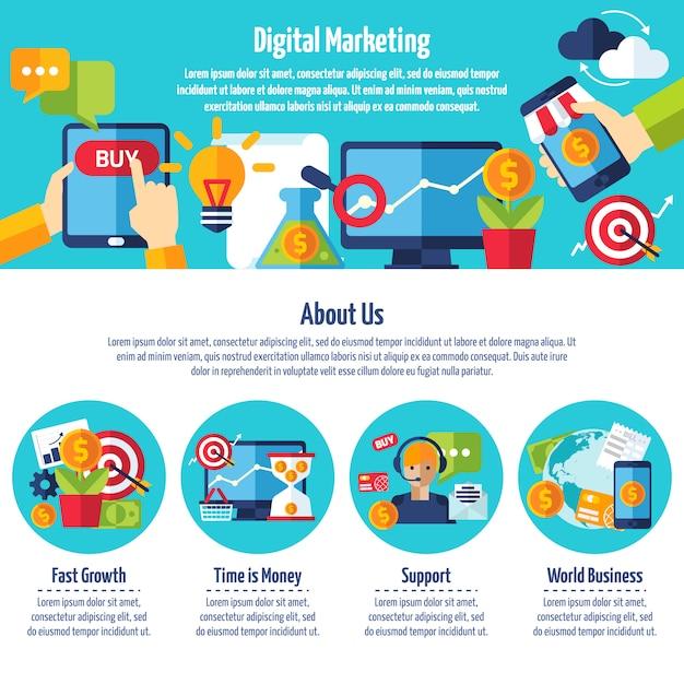 Digitale marketing-website Kostenlosen Vektoren