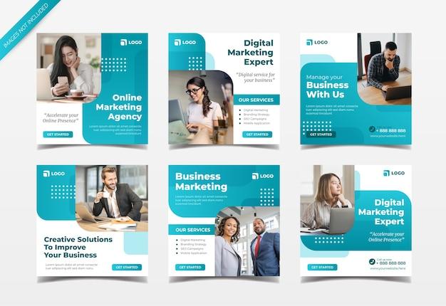 Digitale marketingagentur instagram post collection collection Premium Vektoren