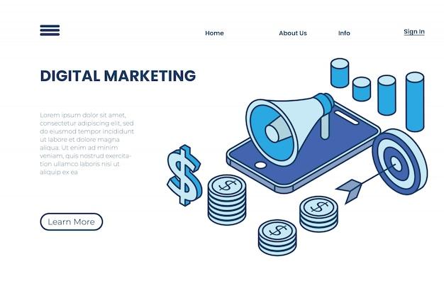 Digitale marketingillustrationen mit isometrischen konzepten und umrissen, produktwerbungsillustrationen durch internetmarketing Premium Vektoren