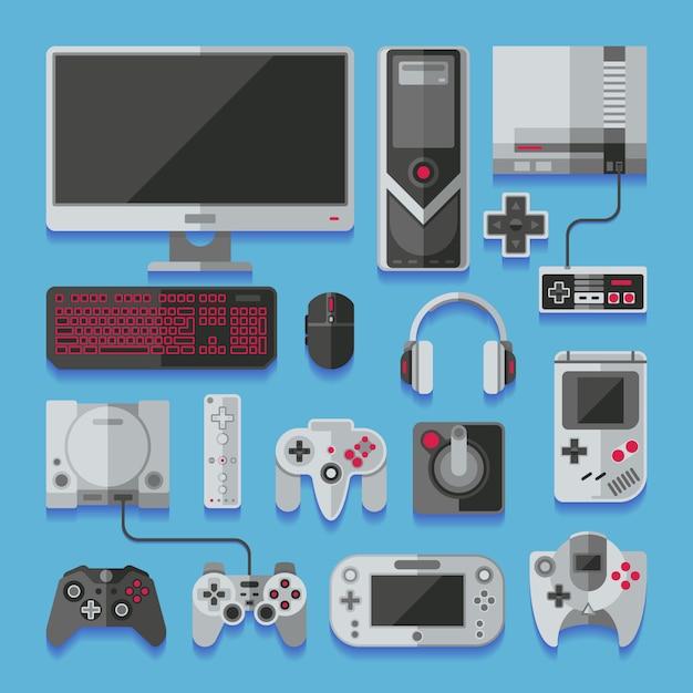 Digitale online-videospielkonsole des computers Premium Vektoren