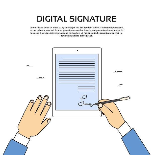 Digitale signatur tablet computer geschäftsmann hände anmelden Premium Vektoren
