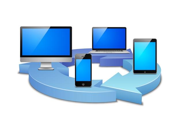 Digitale synchronisation Kostenlosen Vektoren
