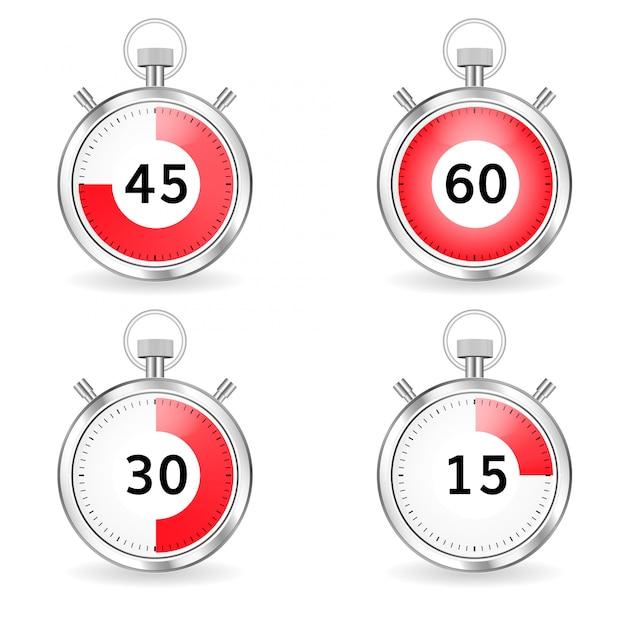 Digitale timer setzen stoppuhr-sammlungs-timer mit pfeil und roter zeitleiste Premium Vektoren