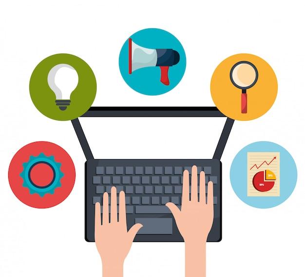 Digitale und soziale marketinggrafiken. Premium Vektoren