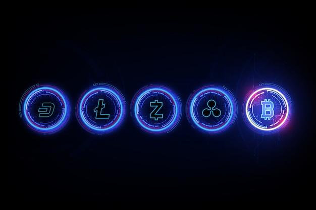 Digitale währung bitcoin, litecoin, ripple, dash und zcash in form der newton-wiege, fintech-weltfinanzkonzept. Premium Vektoren