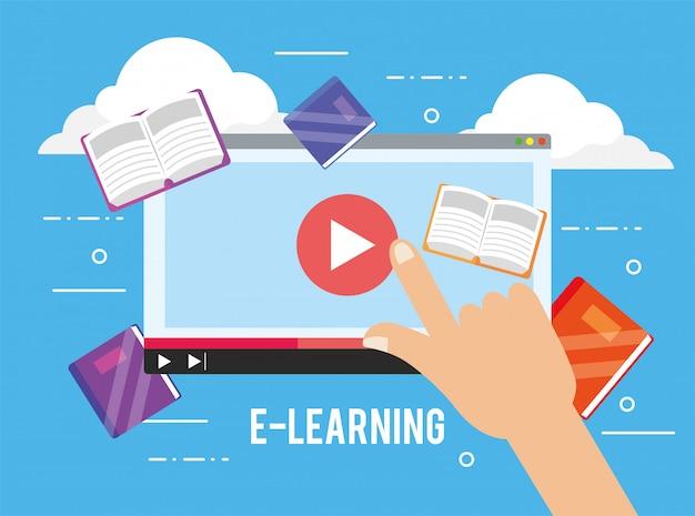 Digitale website-video- und bildungsbücher Premium Vektoren