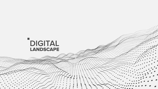 Digitale weiße landschaft Premium Vektoren