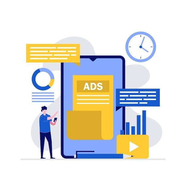 Digitale werbung, seo-optimierung, social-media-strategie und werbekonzepte mit charakter über smartphone. Premium Vektoren