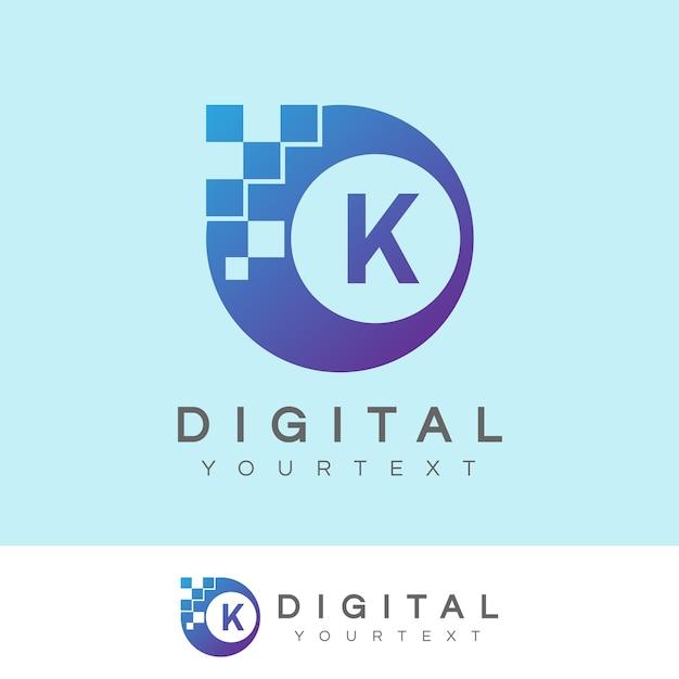 Digitaler anfangsbuchstabe k logo design Premium Vektoren