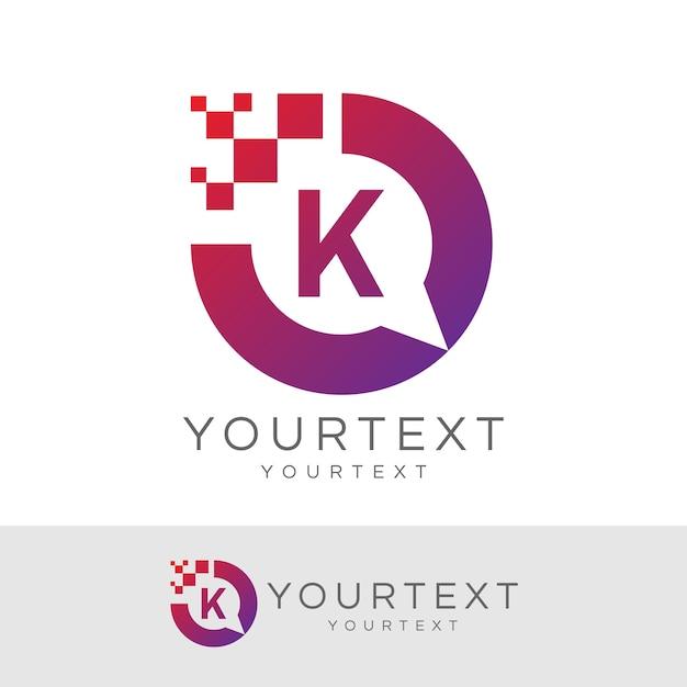 Digitaler berater initial letter k logo design Premium Vektoren