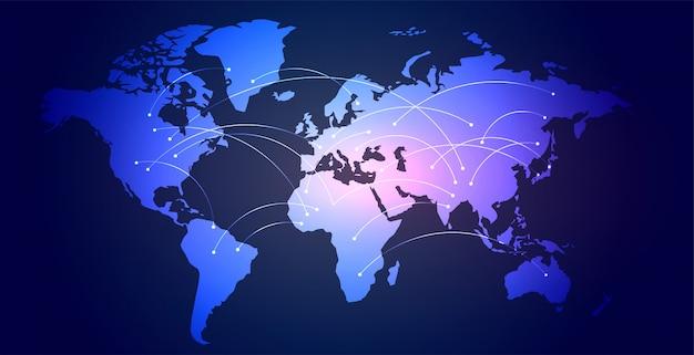 Digitaler hintergrund der verbindungsweltkarte des globalen netzwerks Kostenlosen Vektoren