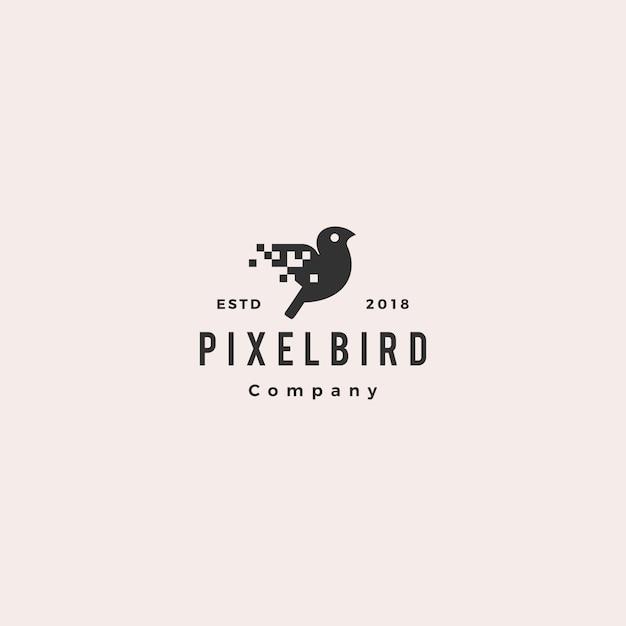 Digitaler logo-hipster des pixelvogels Premium Vektoren
